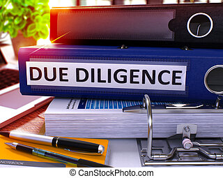 Due Diligence on Blue Office Folder. Toned Image. 3D. - Due...