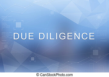 Due diligence word on blurred and polygon background