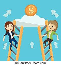 due, donna affari, competere, per, il, soldi.