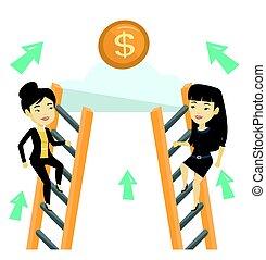 due, donne affari, competere, per, il, soldi.