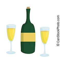 due, etichetta, senza, bottiglia, bicchieri champagne