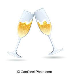due, flauti, di, dorato, pieno di bolle, champagne