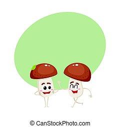 due, fungo, caratteri, uno, camminare, un altro, dall'aspetto, con, braccia curvi