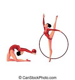 due, ginnasti ritmici, in, leotards, esercitarsi, con, cerchio, e, palla