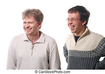 due, giovani uomini, ridere