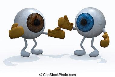 due, grande, bulbo oculare, con, guantoni da box, in, uno,...