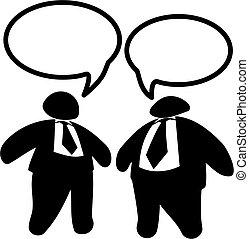 due, grande, grasso, uomini affari, o, politici, discorso