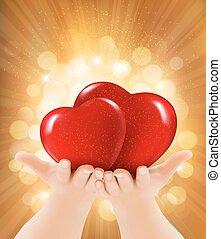 due, illustrazione, fondo., vettore, hearts., fidanzato, tenere mani, giorno, rosso