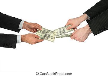 due mani, con, dollari