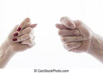 due mani, mostra, ok, fuck, fico, buono, cattivo