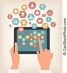 due mani, toccante, schermo, di, uno, tavoletta, con, medico, icons., vector.