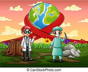 due, mondo, dottori, felice, standing, giorno