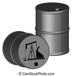 due, olio, barili, con, pompa olio, illustrazione