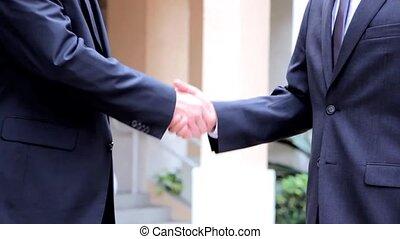 due, persone affari, scossa mano