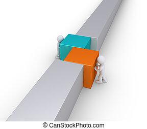 due persone, unire, parete, linea