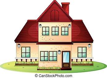 Casa singolo camino rosso tetto casa tetto singolo for Casa a piano singolo