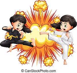 due, ragazza, in, kungfu, equipaggiamento, combattimento