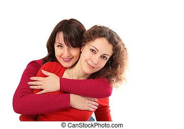 due ragazze, abbracciare, 2