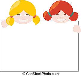 due ragazze, con, bianco, bandiera, vettore