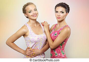 due ragazze, con, colorato, trucco