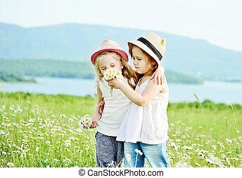 due ragazze, in, fild