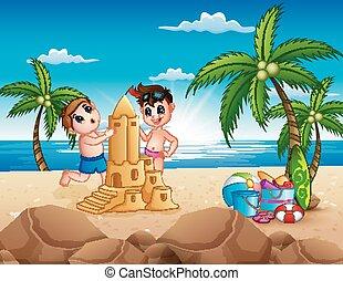 due ragazzi, sabbia, fabbricazione, spiaggia castello, felice