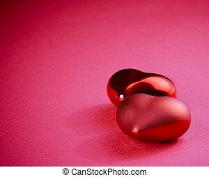 due, rosso, cuori, isolato, su, sfondo rosa, concetto, di, valentina, giorno