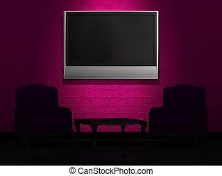 due, sedie, e, legno, tavola, con, lcd, tv, su, parete, in, minimalista, interno