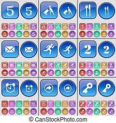 due, set, sveglia, consegna, silhouette, grande, indietro, vettore, messaggio, multi-colored, cinque, coltelleria, buttons., key.