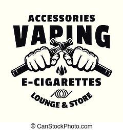 due, sigarette, mani, vaping, presa, elettronico