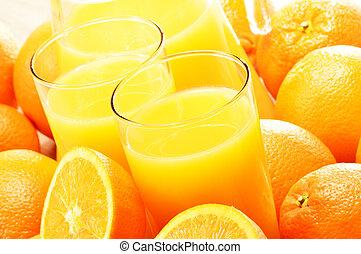 due, succo, frutte, arancia, composizione, occhiali