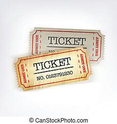 due, tickets., vettore, illustrazione, eps10