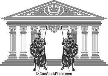 due, titans, e, tempio, di, atlantis