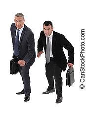 due, uomini affari, da corsa, altro