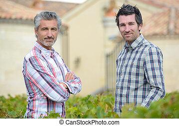 due uomini, ciarlare, sopra, giardino, siepe