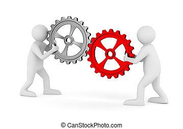 due, uomo, con, gears., isolato, 3d, immagine