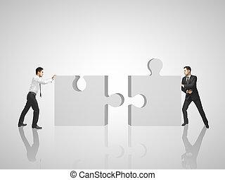 due, uomo, mette, puzzle