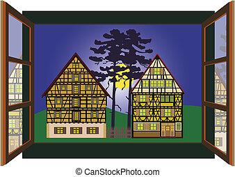 due, vecchio, cottage, fattoria, case
