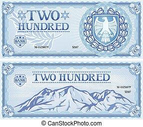 duecento, astratto, banconota