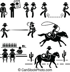 duel, barre, cow-boy, ouest, cheval, sauvage
