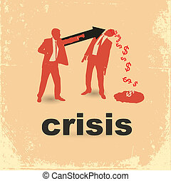 duel, concept, financier, deux, crisis., businessmen.