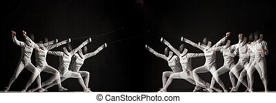 Duel fencers on a black background. collage of photos taken with stroboscope