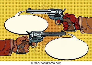 duel in the wild West, hands with revolvers, pop art retro...