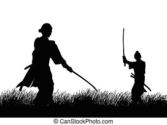 Duel - Two Samurai in duel stance facing each other on grass...
