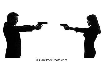 duel, vrouw, silhouette, paar, man