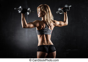 duelighed, hos, dumbbells