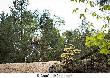 duelighed, pige exercising, ind, natur