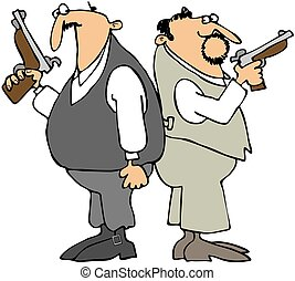 Dueling Men - This illustration depicts two men hold pistols...