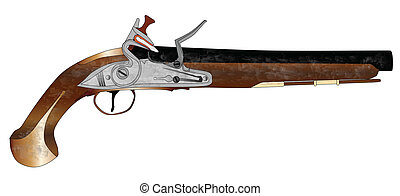 Dueling Pistol - An of old style flintlock dueling pistol ...