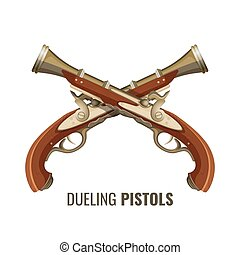 Dueling pistols with luxurious vintage design of wood and...